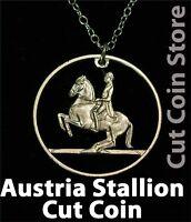 Horse Austria Cut Coin Pendant Necklace Lipizzaner Stallion equestrian