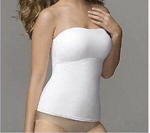 FLEXEES FAT FREE DRESSING STRAPLESS CAMISOLE #2966 WHITE NWT