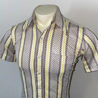 Vtg 60s 70s MARLBORO Shirt Stretch Polyester Nylon DISCO Mid-century MENS SMALL