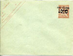 Entier postal - Mouchon 15 c orange surchargé 0,10 Taxe réduite 12,5x9,5 cms