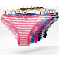 6pcs Cotton Women Panties Lace Striped Low Waist Female Transparent Sexy Thongs