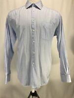 Ike Behar New York Long Sleeve Blue Checkered Button Up Shirt Men's Size 18/37