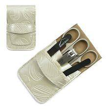 Mont Bleu 5-piece Manicure Set & Crystal Nail File Beige Eco-Leather Case MIKE