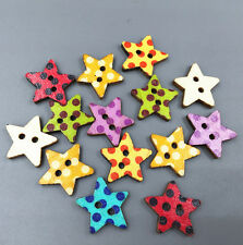 50X Wooden Pentagram Buttons Dot Fit Sewing or scrapbooking decoration 20mm