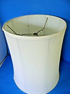 "ONE LARGE 17"" STIFFEL OFF- WHITE SILK-TYPE SHANTUNG FABRIC DRUM LAMP SHADE"