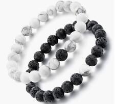 2Pcs 8MM Black white lava stones turquoise beaded bracelet lovers couples gifts