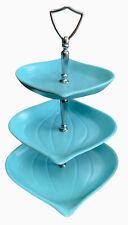 Doranne California USA Three Tier Tidbit Candy Dish Vintage Mid Century Blue