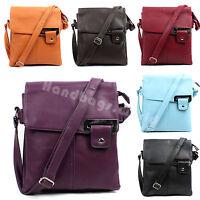 Ladies Faux Leather Multi Pocket Satchel Messenger Cross Body School Bag