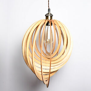 Modern Wooden Spiral Ceiling Pendant Light Shade Droplet Lampshade Home Lighting