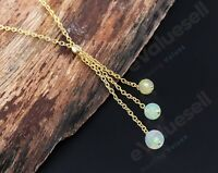 Ethiopian Opal Lariat Necklace 925 Sterling Silver Natural Gemstone Women Gift