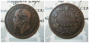 Vittorio Emanuele II 10 Cents 1866 Naples MB / BB