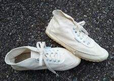 Vtg Nike Canvas Shoes Sz 7.5 1970s Athletic Trainers White Baby Blue Retro