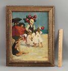 Antique+Signed+%3F%3F%3F+Impressionist+Oil+Painting%2C+Children+%26+Balloon+Man+on+Beach