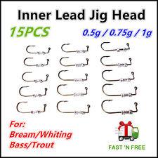 15X 0.5/0.75/1g Like Fishing Inner Lead Jig Head B Bream Whiting Flathead