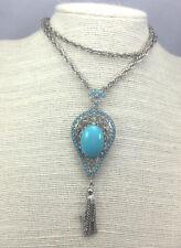 Vintage Rhinestone Necklace Turquoise & Silvertone Tassel Pendant Pin
