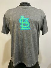 St. Louis Cardinals Gray Neon Green Logo Tee T-Shirt Official Adult Size XL RARE