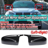 Side Rear View Mirror Cover Cap Trim Gloss Black for BMW X5 E70 X6 E71 2007-13