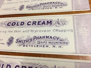 x10 Antique Smith Pharmacy Labels Cold Cream Bethlehem NH Purple Color