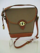 Vintage Dooney Bourke AWL Beige~Tan Calvary Spectator Crossbody Purse