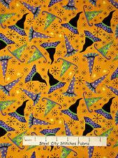 Halloween Fabric - Witch Wizard Hat Toss Orange RJR #1952 Hocus Pocus - Yard