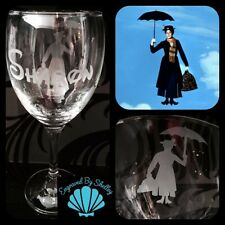Personalised Disney Mary Poppins Wine Glass Handmade & Free Name Engraving!