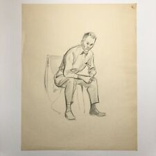 Vintage Mid Century Modern Artist Charcoal Drawing Sketch Male With Bow Tie #4