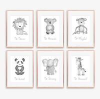 Neutral Grey Safari Animal Baby Nursery Prints Childrens Bedroom Pictures Decor