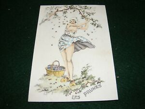 POSTCARD ART E MAUDY PRETTY GIRL SCANTILY CLOTHED PICKING PLUMS FRENCH LITHO