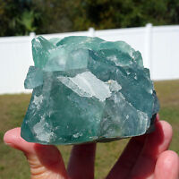 Blue FLUORITE a Natural Crystal Self Standing Display Point Mexico For Sale