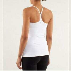 Lululemon White Power Y Tank Top SIZE 6 Removable Bra Pads