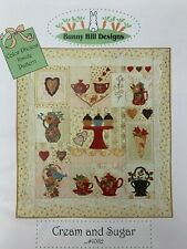 Bunny Hill CREAM AND SUGAR Quilt Pattern #1082 Teapot Tea cup Vase Flower Heart