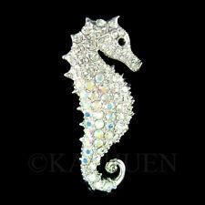 SEAHORSE~ made with Swarovski Crystal Sea Horse Pin Brooch BEACH Bridal Jewelry
