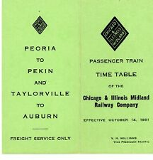 Chicago & Illinois Midland Ry, system passenger time table (small), Oct 14, 1951