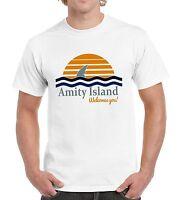 Amity Island Mens Movie Tshirt Funny Shark Top Fish Film Womens Top Tee