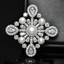 Victorian Jewelry Pear Shaped CZ Domed Mother of Pearls Cross Brooch Pins Silver