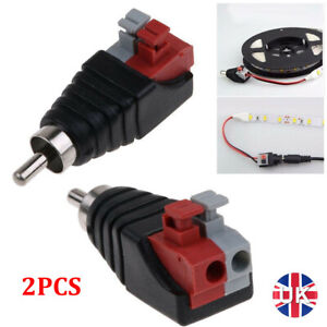 2PCS Speaker Wire A/V Cable to Audio Male RCA Connector Adapter Jack Press Plug