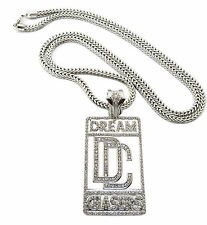 MENS ICED OUT  SILVER MEEK MILL DREAM CHASERS PENDANT FRANCO CHAIN NECKLACE