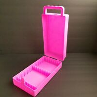 Hot Pink Cassette Tape Carry Case Music Storage Box Plastic Holds 10 Tapes