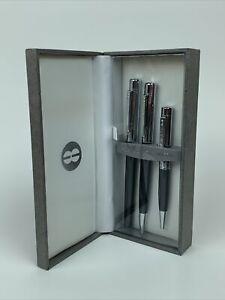 Bill Blass Pen Set - Rollerball, Pen, & Mini-Pen - Chrome Grey - BB0149-4 - New