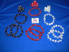 NEW 12 DICE BRACELETS AND 9 16MM OPAQUE DICE RED, BLACK AND WHITE FREE SHIPPING