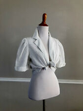 Vtg 80s/90s Crop White Eyelet Bolero Jacket Shrug Puff Sleeve Notched Collar S/M