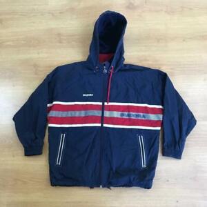 Diadora Vintage Navy Red Shell Track Jacket Coat Hooded Medium 90s Boxy Fit