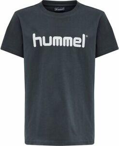 Hummel GO Kinder Logo T-Shirt Baumwolle Freizeit Sport Dunkelgrau 203514-8571