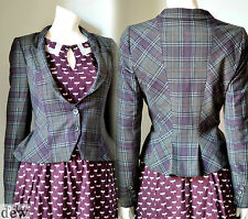 WAREHOUSE VINTAGE 1940's tweed PLAID victorian grey peplum BUSTLE jacket 12
