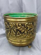 Old Vintage Brass English England Acorn Oak Leaf Planter Footed Vase Plant Pot