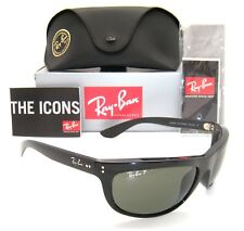 NEW RAY BAN  Balorama RB4089 Polished Black  w/ Green Polarized Lens 62mm