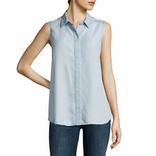 Liz Claiborne Sleeveless Chambray Button-Front Blouse Size PS, PM, PL, PXL New