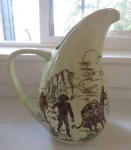 "11.25"" Pitcher Vernon Kilns Winchester Frontier Days Large Serving Piece Miners"