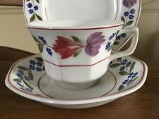 Ironstone Tableware Date-Lined Ceramic Cups & Saucers