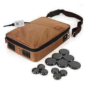 SereneLife Portable Hot Stone Massage Warmer Set & Spa Kit with 12 Round Stones